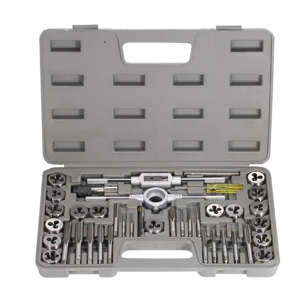 40pcs High Speed Steel Tap dies Set Metric Taps Dies DIY kit screw tap Holder Thread Gauge Wrench Threading hand Tools + Case
