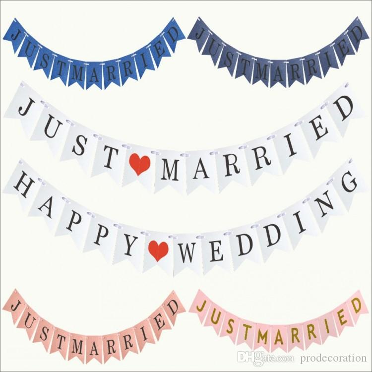 f781ccf84764 Vintage JUST MARRIED Banner Wedding Party Decorations Bunting Garland  Handmade Photo Booth Props Event Party Supplies Birthday Party Goods  Birthday Party ...