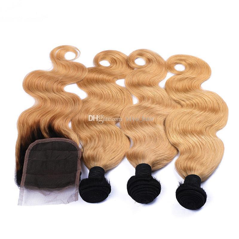Dos 1B Tono / 27 Rubio Wave Ombre cuerpo paquetes de pelo con el pelo de la armadura de cierre miel blondas Ombre humana brasileña y Cierre