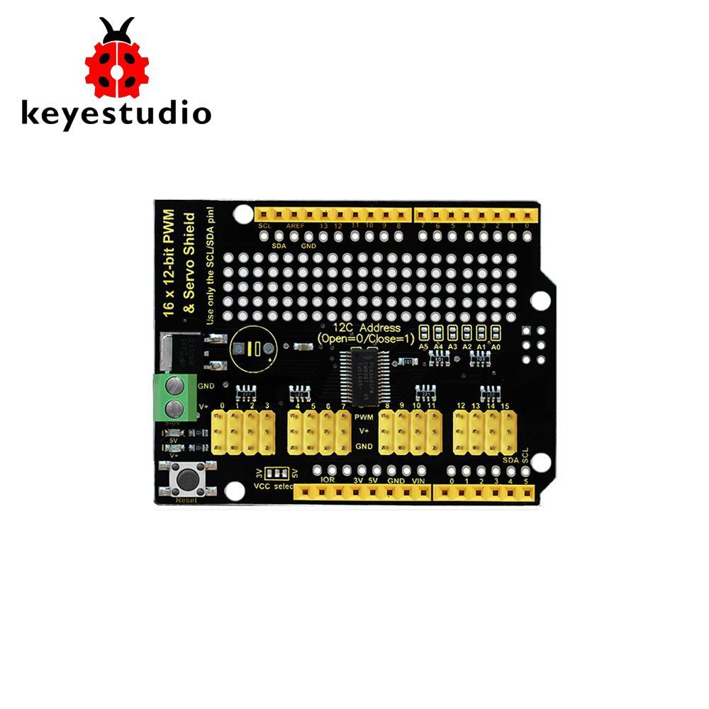 Keyestudio PCA9685 16-Channel Servo Motor Drive Shield I2C For Arduino  Robot Raspberry Pi