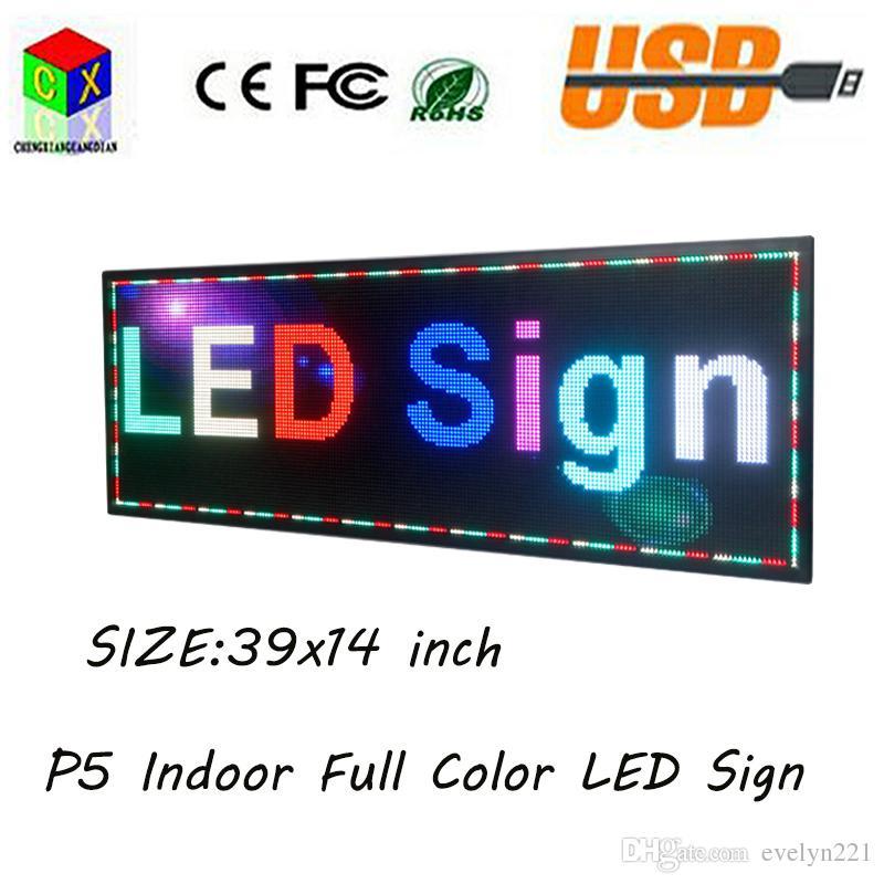 NOUVELLE LED d'intérieur polychrome de SMD P5 39''x14 '' défilant l'affichage de message pour la fenêtre de magasin