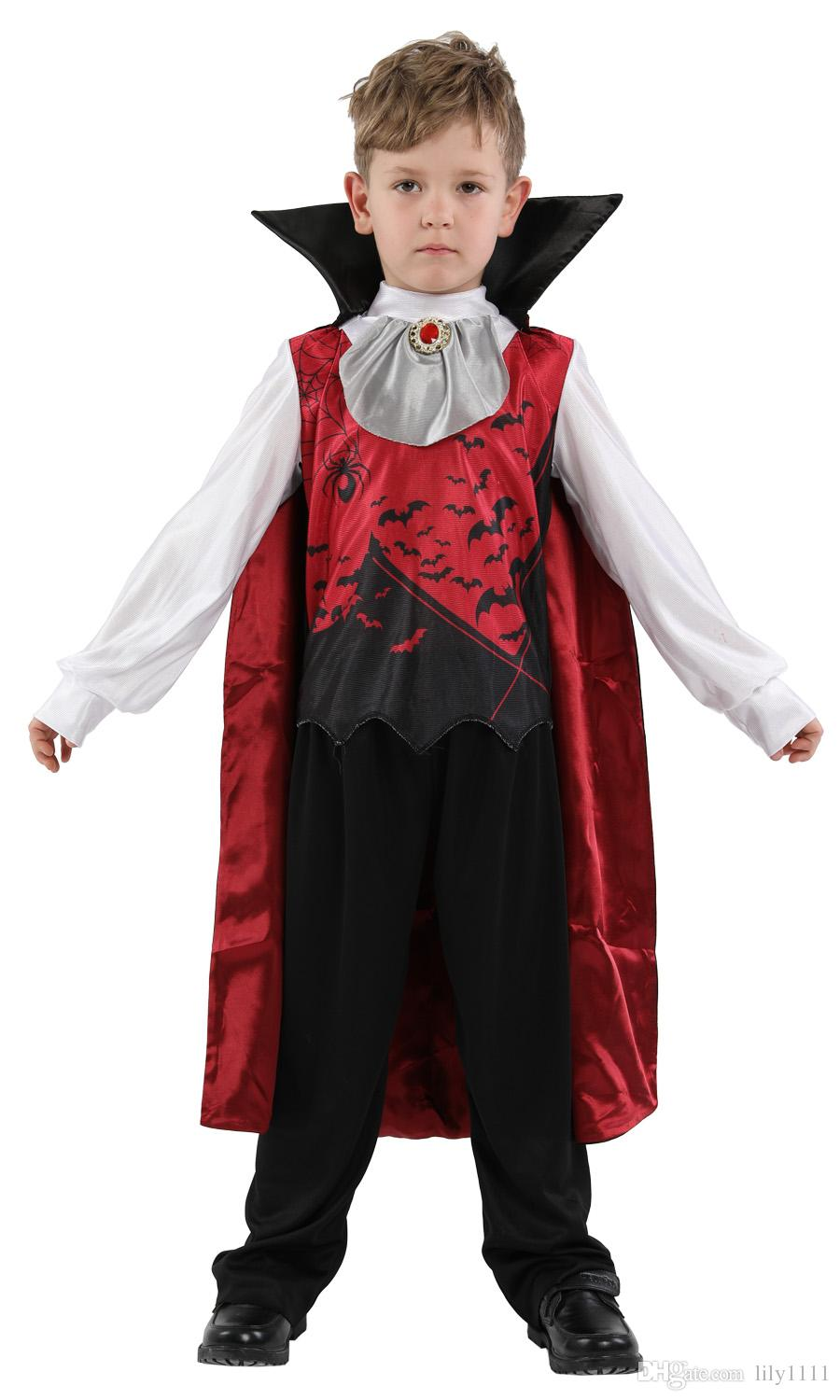 Shanghai story Halloween Vampire Costumes Children Kids Devil Demon  Cosplays Carnival Purim Masquerade Role play party dress Boy