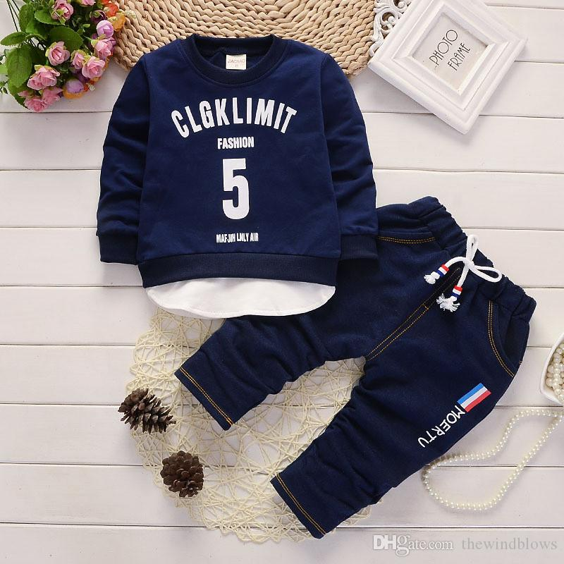 587a3e79d Baby Boys Clothing Sets Spring Autumn Letter Coat+sport Trousers ...