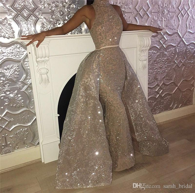 Sparkly Sliver Sequined Mermaid Evening Dresses Detachable