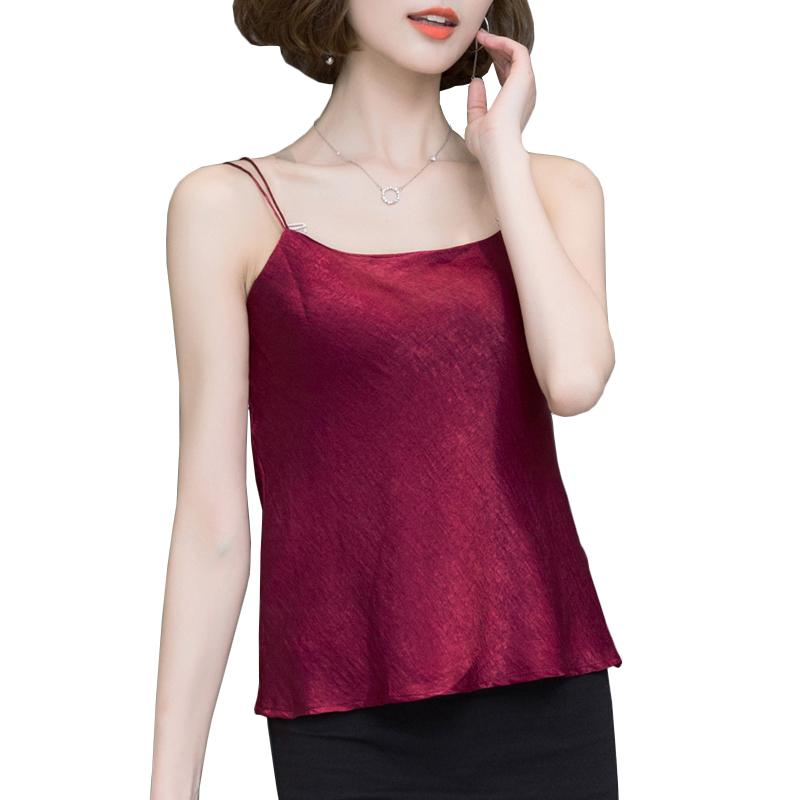 6f98a817ddc 2019 New Fashion 2017 Silk Camis Sexy V Neck Spaghetti Strap Crop Tops All  Match Ruffles Tank Top Womens Plus Size Outerwear Camisole From Xiatian8