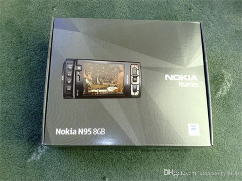Refurbished Original Nokia N95 8GB Unlocked Slide Phone 2.8 inch Screen 5.0MP Camera 3G WIFI GPS Bluetooth Cheap Cell Phone Free Post