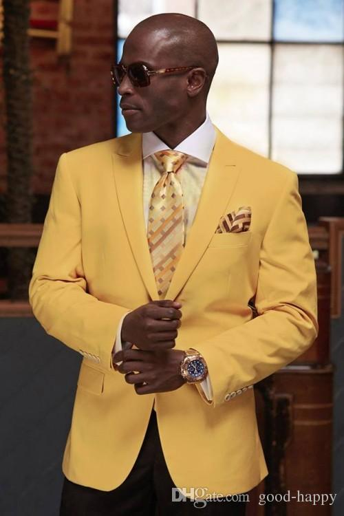 Custom Made Yellow Groom Tuxedos Beautiful Men Formal Suits Business Men Wear Wedding Prom Dinner Suits Jacket+Pants+Tie+Girdle NO;679