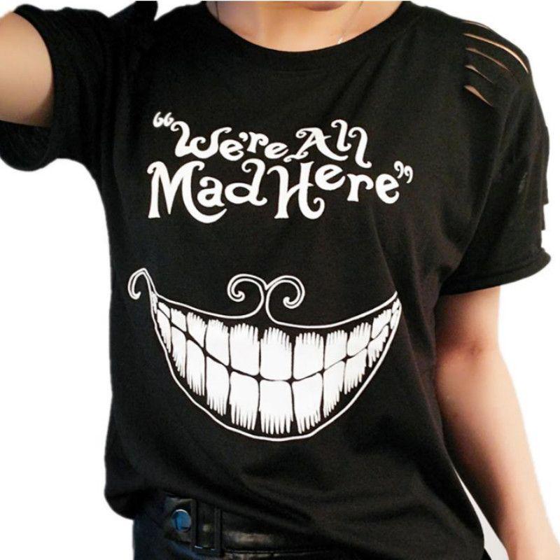 8fec831ec0a64b Großhandel Schwarzes Kyliejenner Katzendruck Weibliches T Shirt Alice Im  Wunderland Wir Sind Alle Hier Wütend Lustige T Shirts Für Mädchen Sommer  Spitze Von ...
