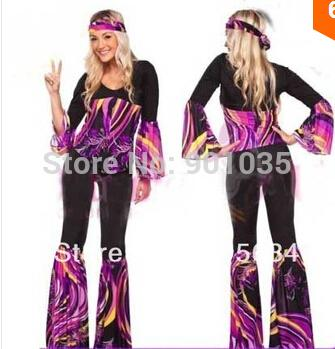 93ad3a91b6 FREE SHIPPING Ladies 60s 70s Retro Hippie Go Go Girl Disco Costume Hens  Party Fancy Dress sexy