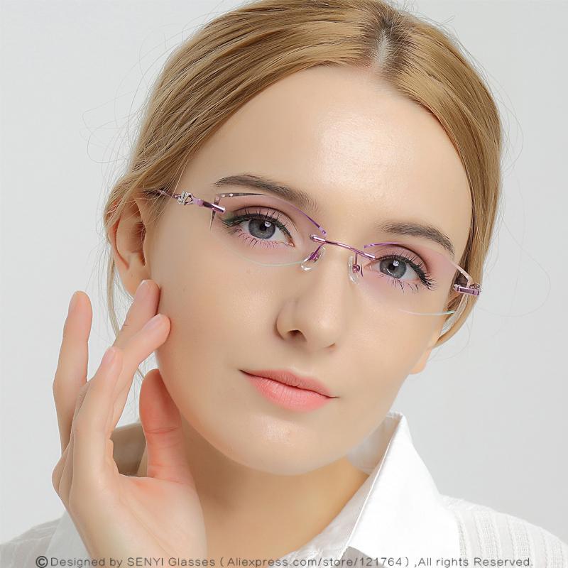 c98e107bc6 2019 Elegant Rhinestone Eyeglass Frames For Women Prescription Glasses  Myopic Presbyopic Female Spectacle Computer Eye Glasses 654 From  Fashionkiss