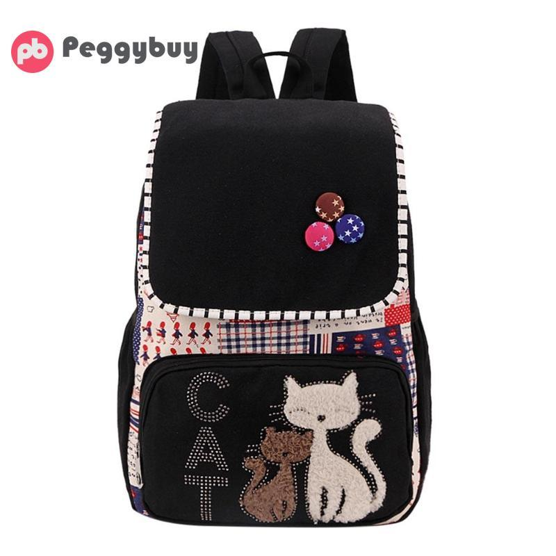 54c6e4e2d1e3 Fashion Women Canvas Backpack 2018 New Preppy Style Cat Print Travel School  Bag Teenag Girls Backpacks Mochila Feminina Bagpack Pink Backpacks Daypack  From ...