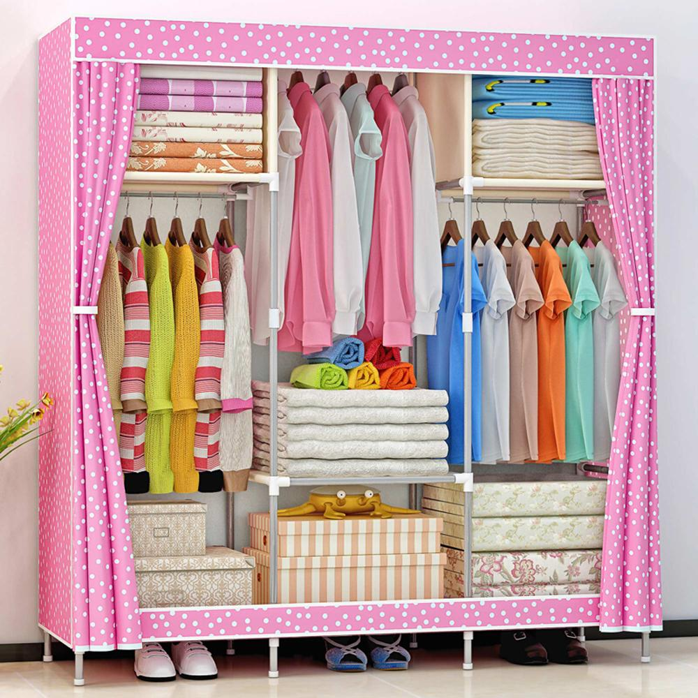 Strange Hhaini Portable Triple Wardrobe Closet Large Folding Armoire Storage Bedroom Furniture Fully Enclosed Clothes Organizer Beutiful Home Inspiration Ommitmahrainfo
