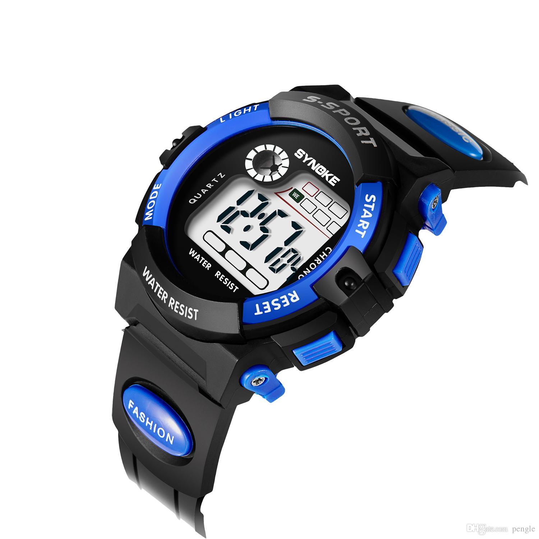484b032dee1 Compre Barato Moda Esporte Relógio De Pulso Digital LED Crianças Relógio  Digital De Movimento Resistente À Água Gota Frete Grátis De Pengle