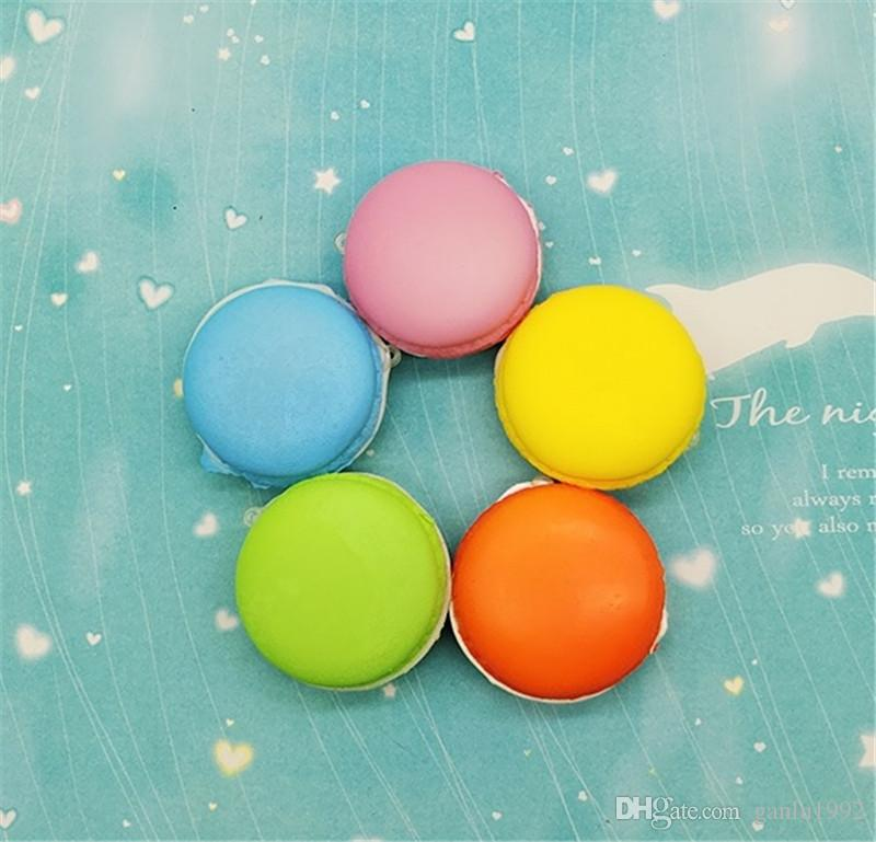 Candy Color Macaroon Bread Squishy Decompression Toys Squishies Phone Straps Pendant Children Play House Toy Gift 1 9hb CR