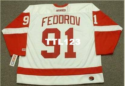 941a06f41ca Men  91 SERGEI FEDOROV Detroit Red Wings 2002 CCM Away Hockey Jersey Or  Custom Any Name Or Number Retro Jersey UK 2019 From Ttl123