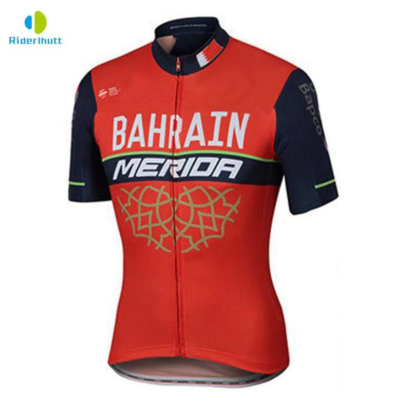 2018 Bahrain MERIDA Red White Summer Short Sleeve Cycling Jersey ... e99582c8a