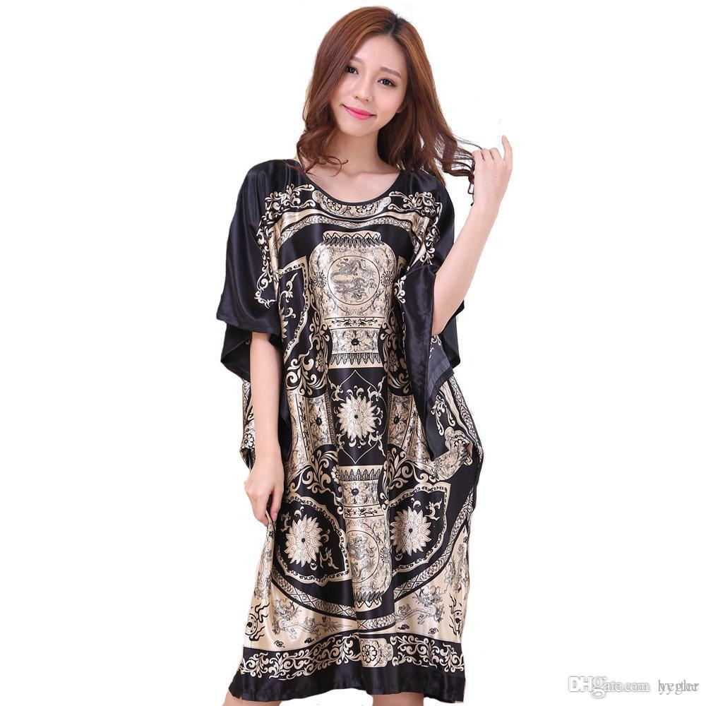 3ccc3b3f3e 2019 Hot Sale Black Chinese Female Rayon Nightgown Summer Causal Loose  Sleepwear Lady Kaftan Bath Robe Dress Gown Plus Size WR036 From Hyghe, ...