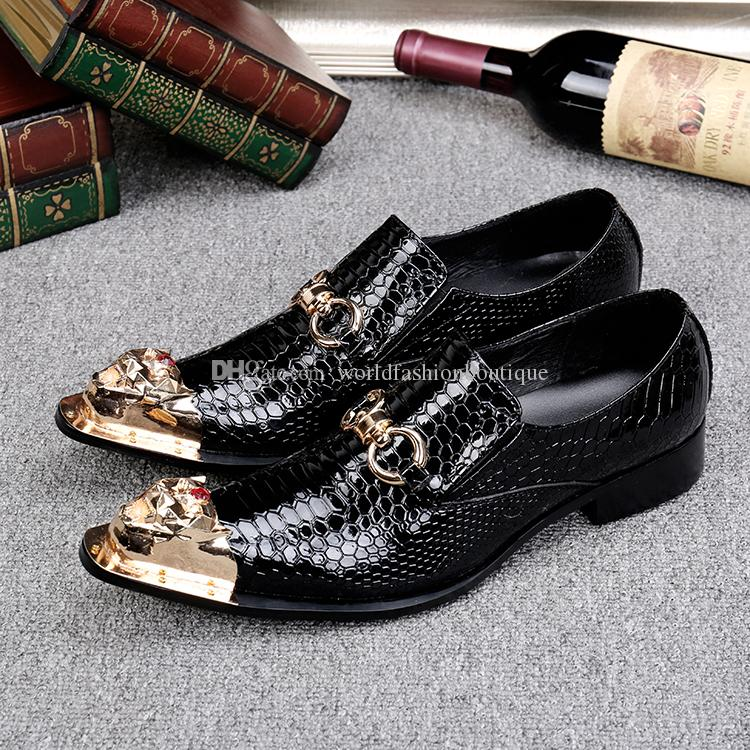 2018 New Shoes Fashion Spring Fish Pattern Leather Men Dress Shoes