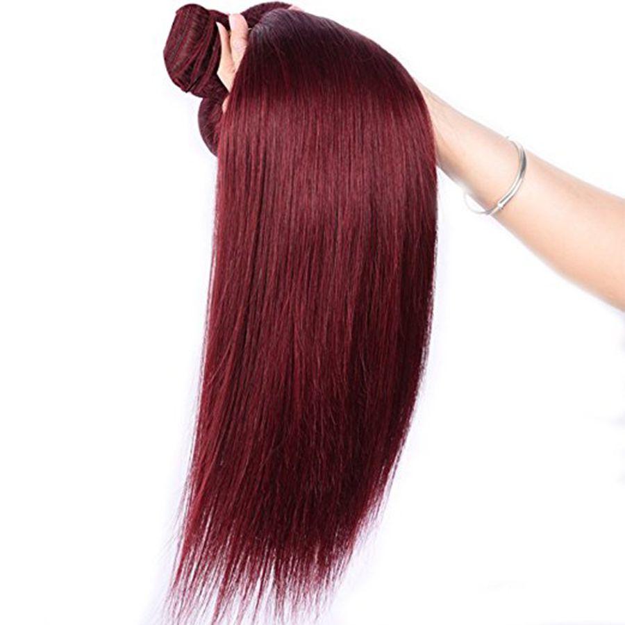 Borgoña vino color rojo 99J brasileño virginal armadura del pelo paquetes peruanos malasio indio sedoso recto pelo humano extensión armadura del pelo rojo