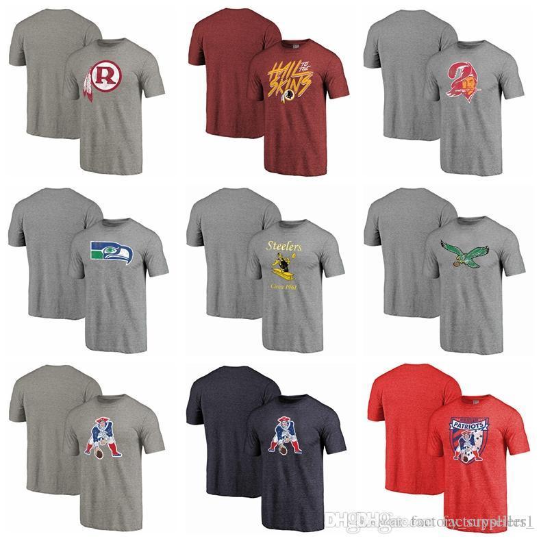 97df872ac0 Compre Filadélfia Eagles Pittsburgh Steelers Seattle Seahawks Corsários  Titans Redskins Mens T Shirts Retro Logotipo Tri Blend T Shirt De Manga  Curta De ...