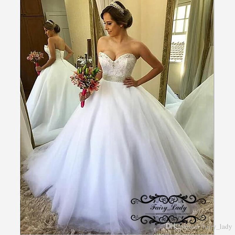 Discount Sexy Strapless Puffy A Line Wedding Dresses With Beads Waist 2018  Lace Up Back White Long Bridal Dress For Women Vestido De Noiva Lace Wedding  ... 89ac949cba1b
