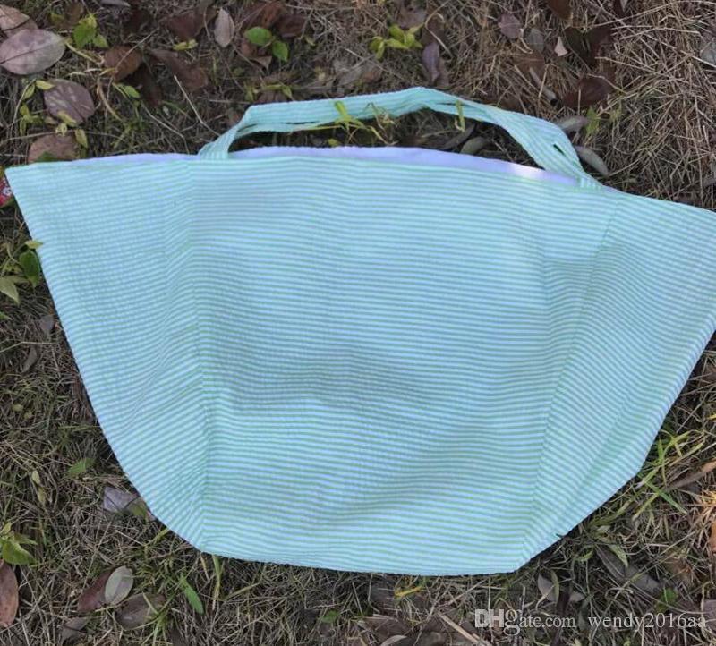 2018 nuove donne di arrivo uomini poliestere grandi strisce aperte borse da spiaggia hobo bambini giocattoli da spiaggia ricevere borsa seersucker estate