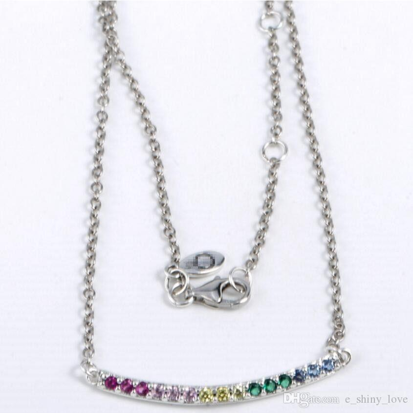 Popular Genuine 100% 925 Sterling Silver Chain Colorful Rhinestone Necklace European Style Luxury DIY Jewelry Gift 50cm PNC4