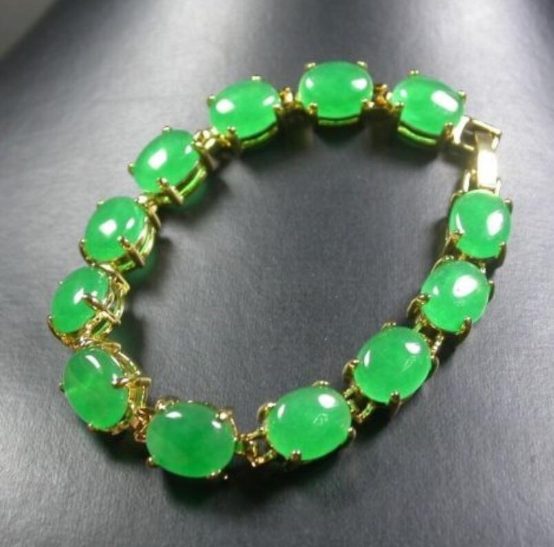 Acheter Bracelet En Perle De Cabochon Pierre Verte CHINOISE En Pierre Verte  ^^ @ De $13.18 Du Dong1233