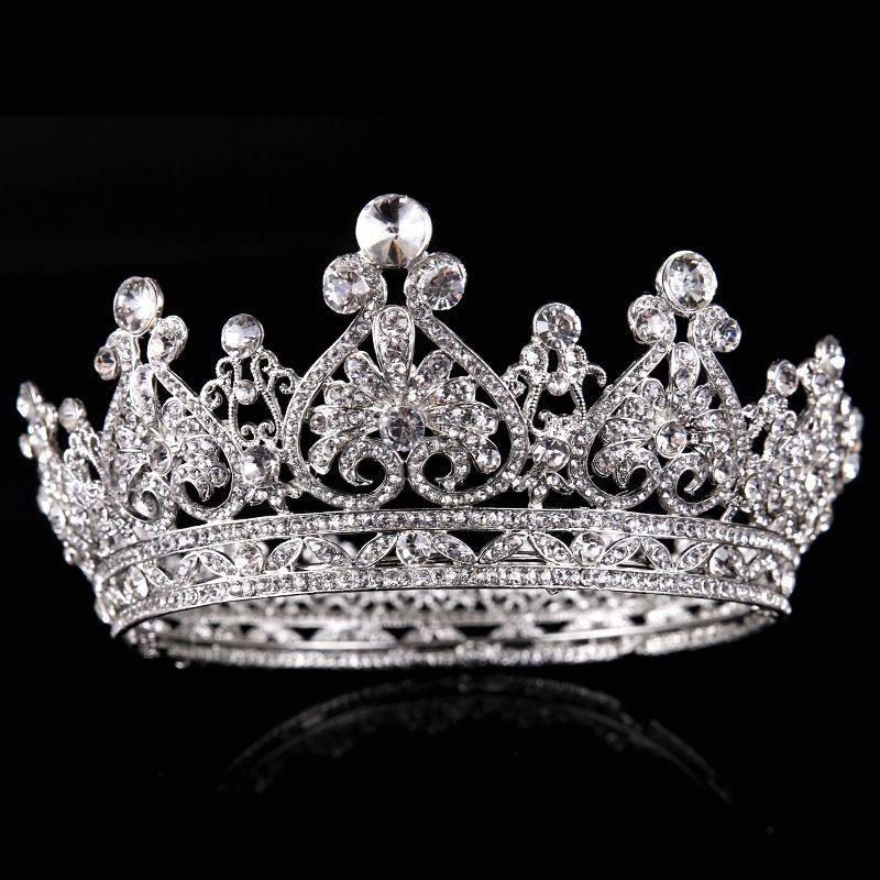 Großhandel Königin Silber Ring Wasser Bohren Große Krone Braut ...