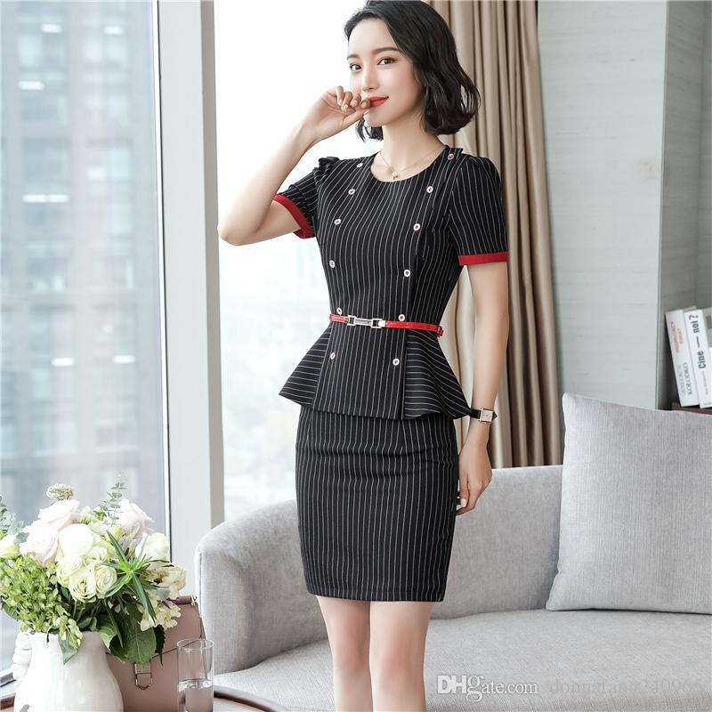 8c504804399a 2019 Summer Style Short Sleeve Formal OL Styles Work Suits With Tops And  Skirt Ladies Office Blazers Outfits Plus Size 4XL From Dujotree