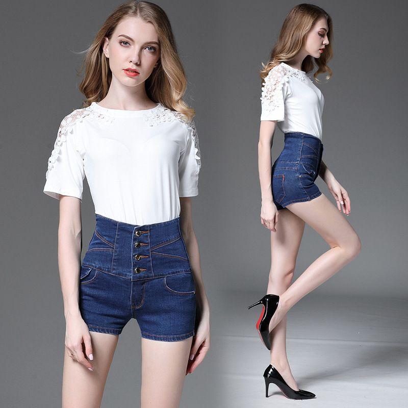 cd487e3c1fe 2018 Spring Summer High Waist Mid Elastic Plus Size Shorts Women ...