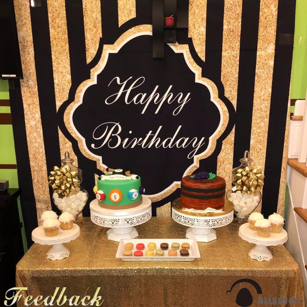 2019 Allenjoy Bright Photography Birthday Celebration Backdrop Black Gold Happy Costmize Name And Date Photographic Studio Photocall From Camerashome