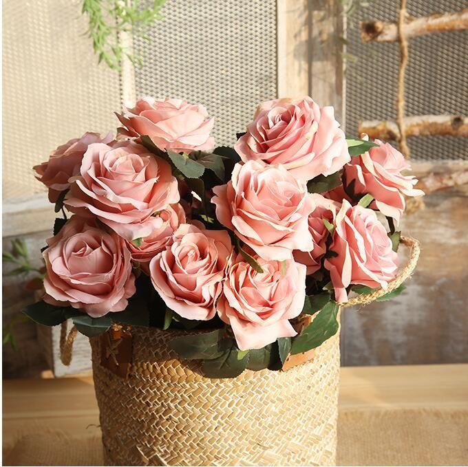 Fiori artificiali Il bouquet floreale 10 rose decorazioni natalizie decorazioni la casa giardino molti colori scegliere BP061