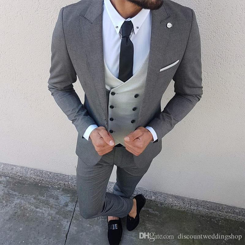 Popular Slim Fits Grey Man Business Suits Peak Lapel Tuxedos For Groom Double Breasted Waistcoat Trousers(Jacket+Pants+Vest+Tie) J872