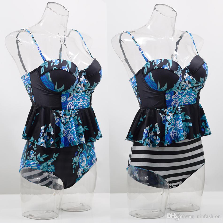 Seksi Bikini Mayo Kadınlar Push Up Moda Mayo Yüksek Waisted Mayo Çiçek Biquini İki Adet Bikini Tankini Beachwear