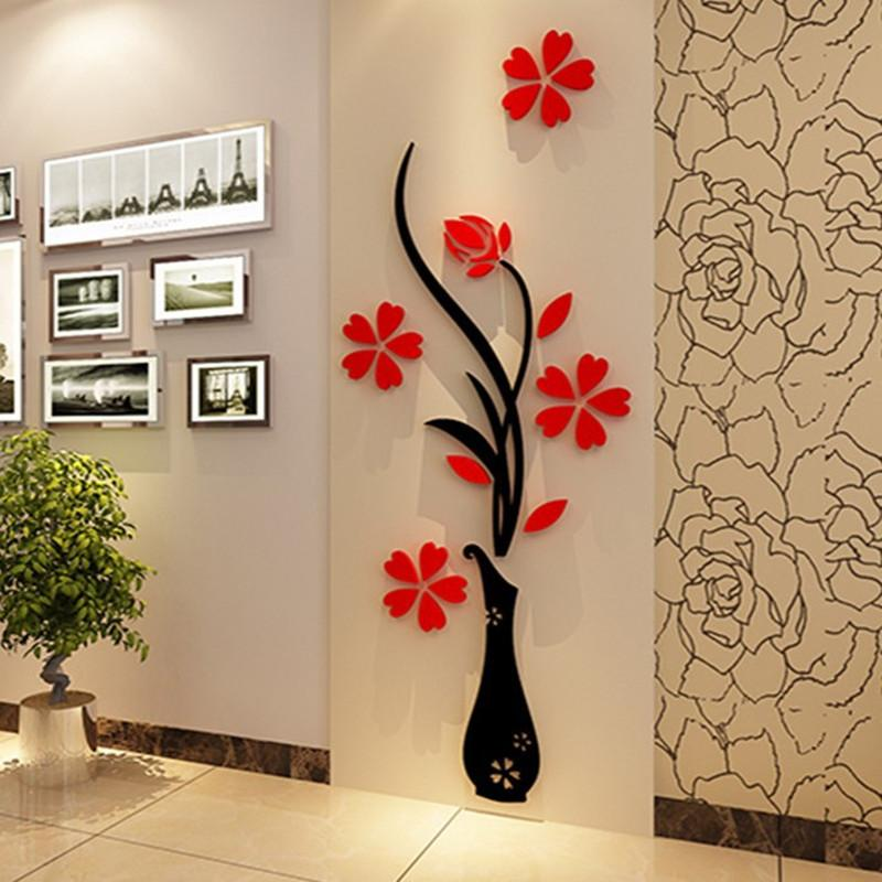 Fashion DIY Home Decor 3D Vase Flower Tree Crystal Arcylic Wall Stickers Vinyl Art Decal Sticker Quotes From Starch