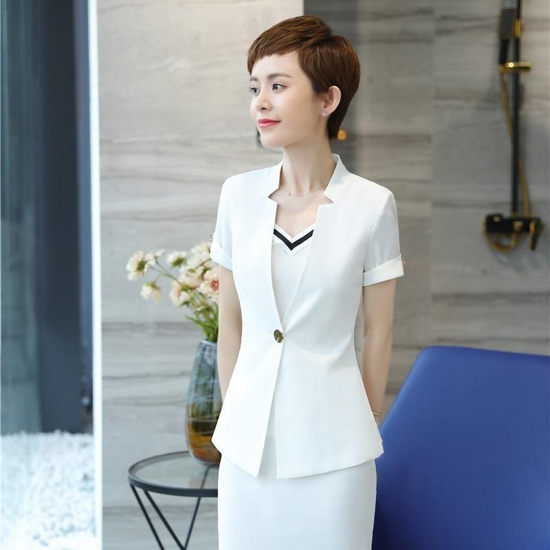 ff440dd38476 2019 Summer Formal White Blazers Women Jackets Short Sleeve Ladies Work Wear  Business Clothes Office Uniform Designs From Fabian05