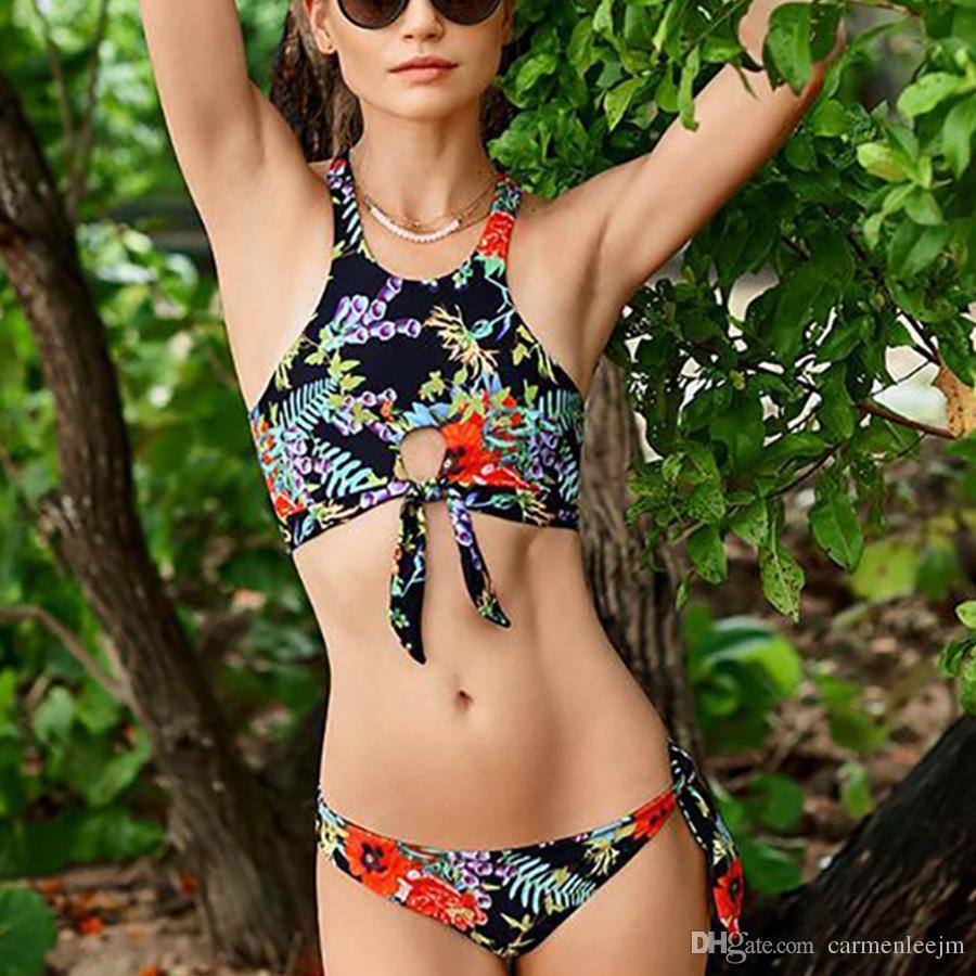 Mujer Retro Traje de Set baño 2019 de Verano Nuevo Bikini de baño de Floral 2018 piezas de moda Dos baño Traje Sexy Traje Impresión xFpqqfCw