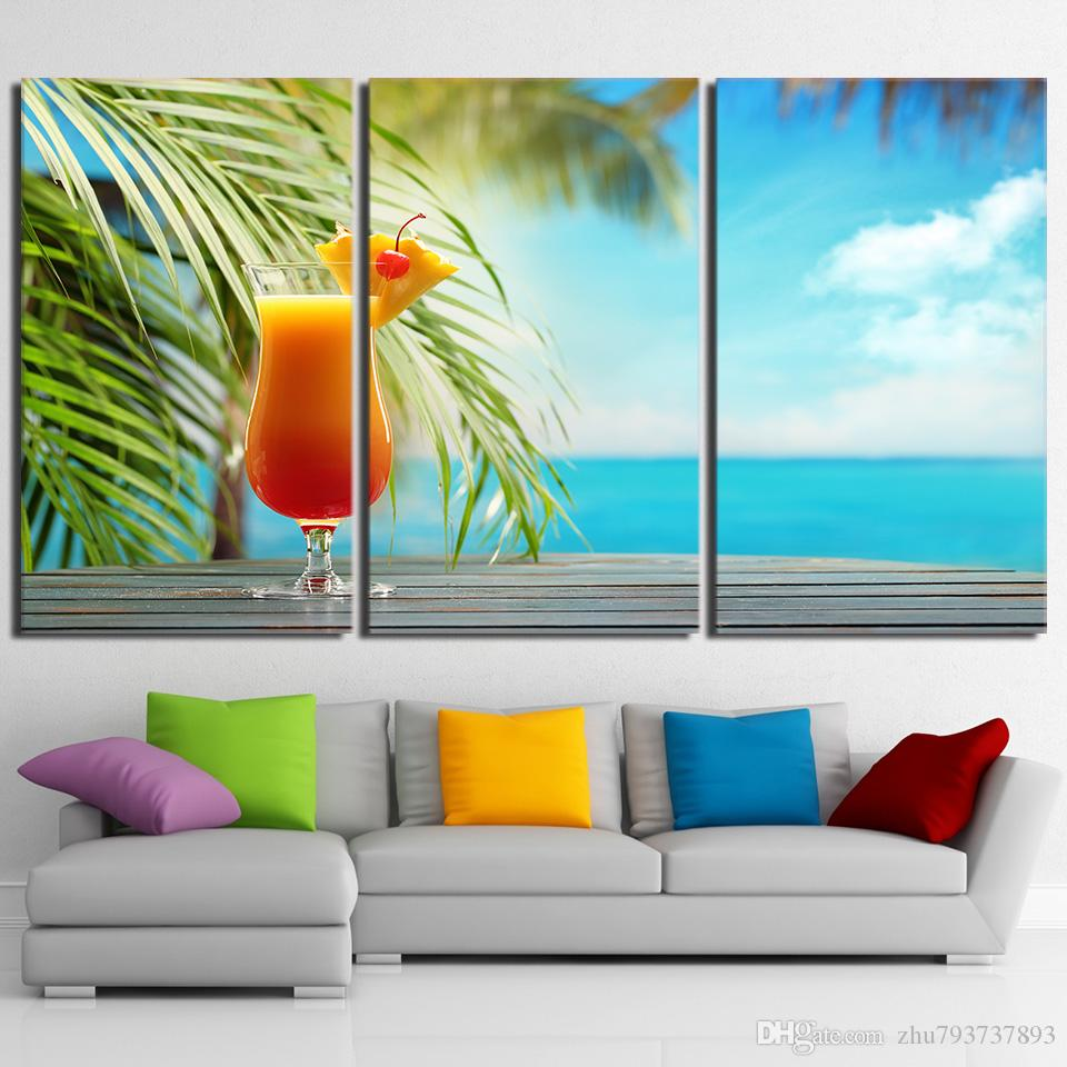 2018 Hd Prints Canvas Kitchen Wall Art Posters Fruit Drink Paintings ...