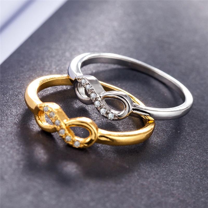 Mode 925 Sterling Silber 5mm Unendlichkeit Ringe Überzug Platin Kristall schmuck Kreuz für Frauen Designer Marke 8 Ringe Für Frauen Hochzeit