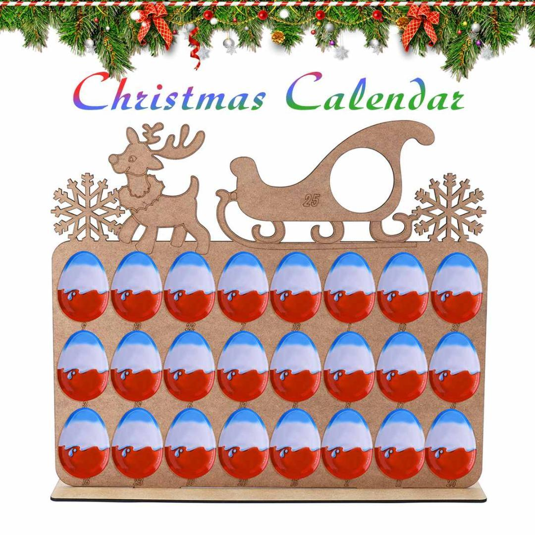 Christmas Tree Model Calendar Wooden Christmas Chocolate Display Stand Calendar For Decoration 38x46cm