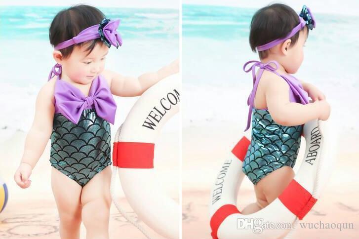 الفتيات mermaid الذيل ملابس هيرباند 2 قطع البدلة dhl حورية البحر زي الفتيات mermaid المايوه الاستحمام ملابس bowknot بيكيني البدلة