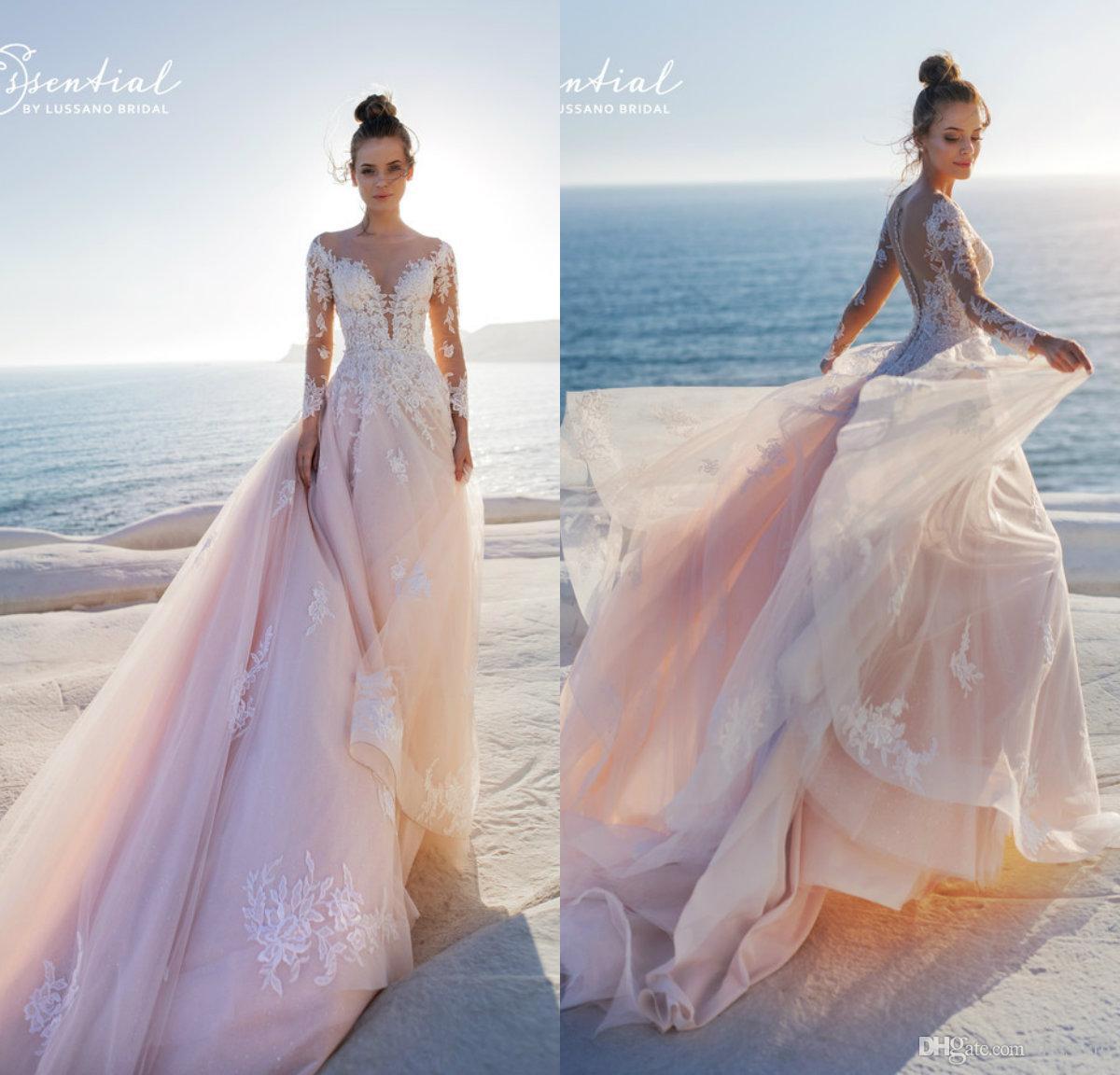 Discount 2019 Blush Pink Wedding Dresses A Line Sheer
