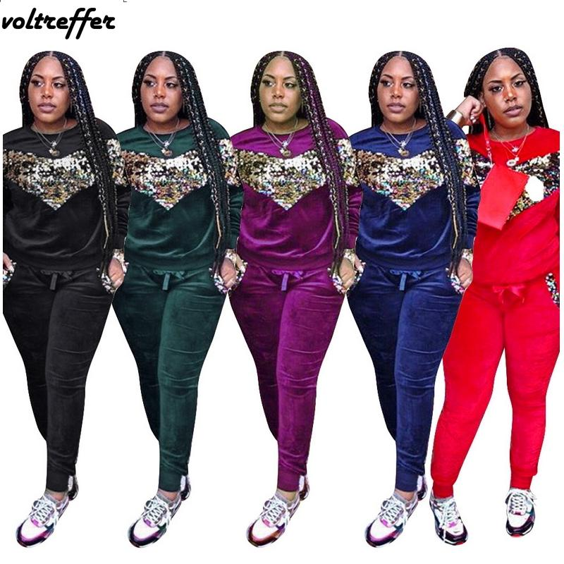 Velour Tracksuit For Women Sequins Luxury Thickening Velvet Sweatsuit  Pleuche Sparkly Two Piece Set Loose Casual Outfits Glitter UK 2019 From  Pileilang 3331eb6921cc