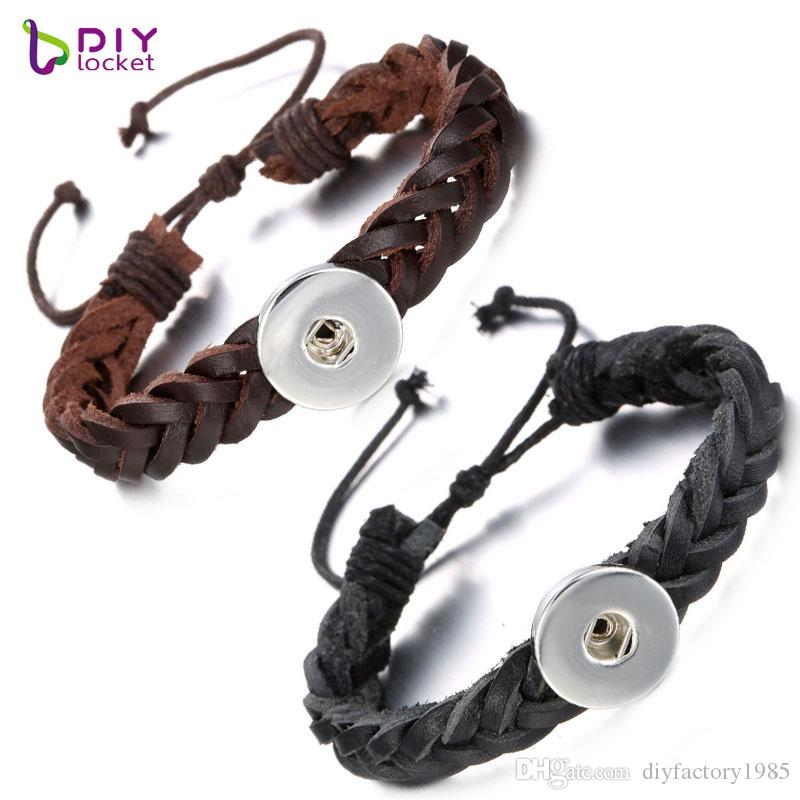 Vintage Weaving Adjustable Leather Snap Bracelets Wholesale LSNB94