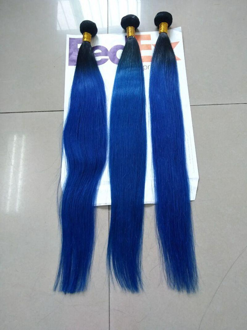 1B Blue Ombre Straight Brazilian Virgin Hair Weave Silk Straight Ombre Blue Hair Extensions Two Tone Color 3 Bundles