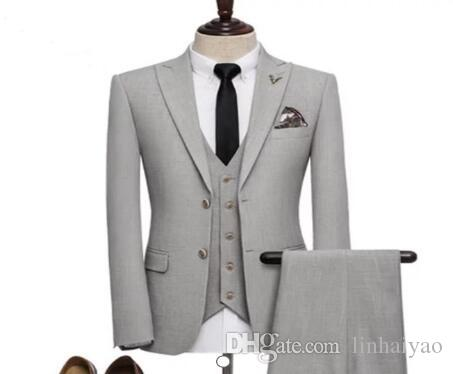 2018 New Costume Homme Grey Men Suit 3Pieces(Jacket+Pant+Vest+Tie) Groom Prom Terno Masculino Trajes De Hombre Blazer Fashion