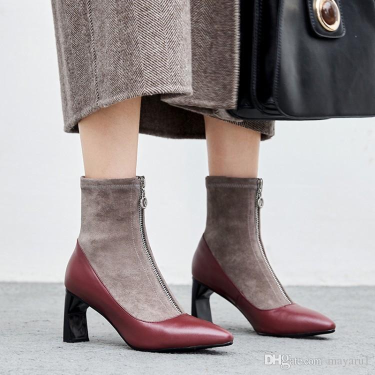 Großhandel Damen Ankle Boots Stitching Leder Spitz Seltsam High Heel Schuhe  Zentralen Reißverschluss Schwarz Rot Von Mayaru1,  59.3 Auf De.Dhgate. 5233f0ccae