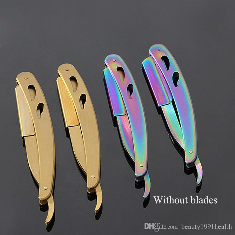 New Stainless Steel Haircut Manual Razor Rack Folding Shaving Knife Rack Eyebrow Knife Hair Removal Tools without Blade