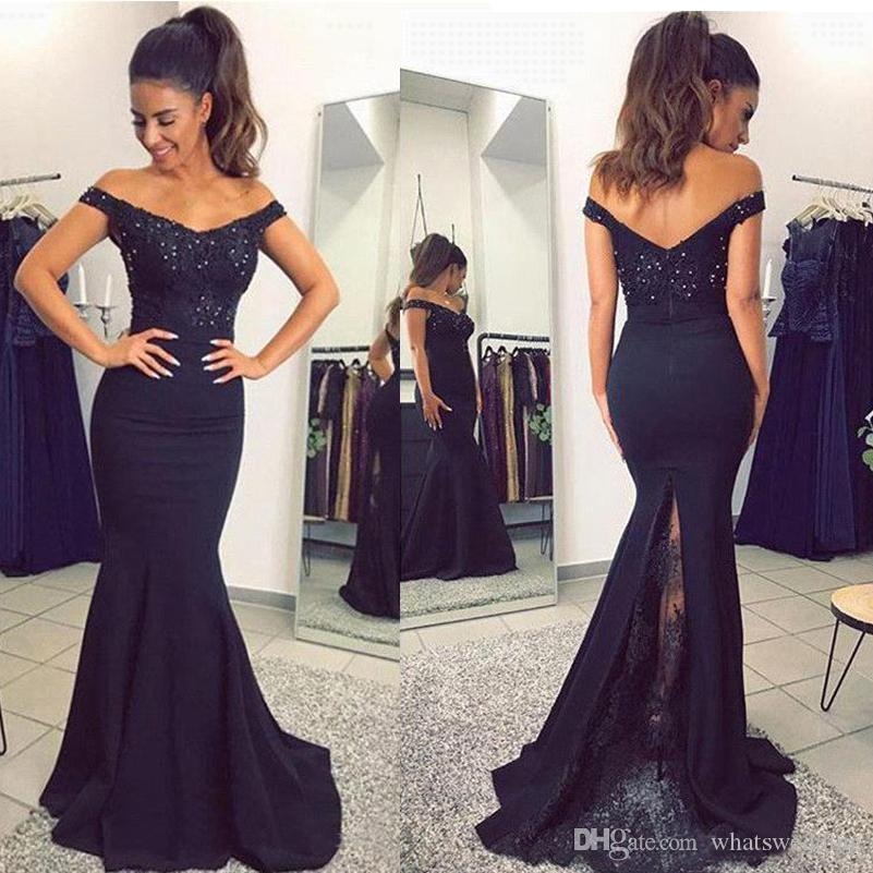 4f00f2f5c91a Black Off The Shoulder Satin Mermaid Long Prom Dresses Lace Applique Beaded  Sweep Train Formal Party Evening Bridesmaid Gowns Prom Dresses For Hire  Shop For ...